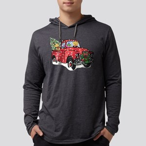 Yellow Lab Christmas Red Truck Mens Hooded Shirt